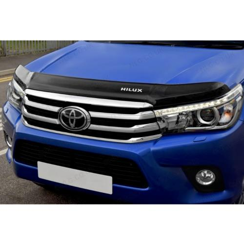 Dark Smoke Bonnet-Bug Shield Protector With Logo For Toyota Hilux 2016 Onwards