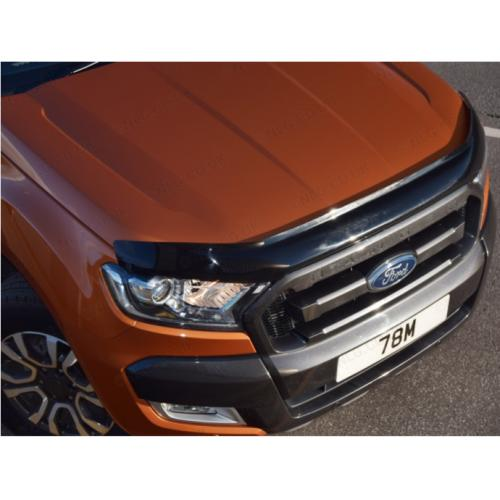 T6 Dark Smoke Bonnet-Bug Shield Protector For Ford Ranger 2016 On Facelift