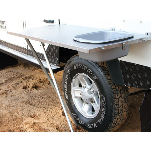 Stainless Steel Vehicle Side Mount Table with Basin
